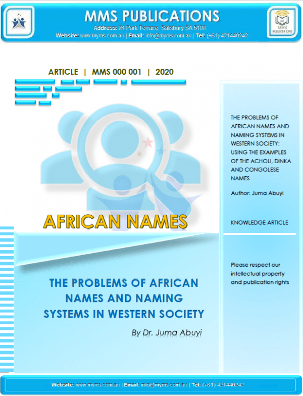 AFRICAN NAMES' ISSUE